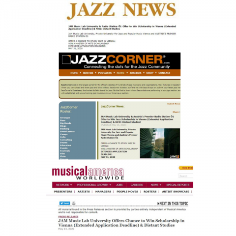 News releases on JAM Distant Studies and Ö1 Jazz Scholarship 20